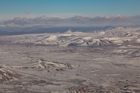 sunshines: Aerial view Iceland natural mountain winter landscape background