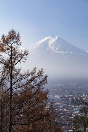 mountain view: Aerial view Fuji volcano mountain, natural landscape background, Japan