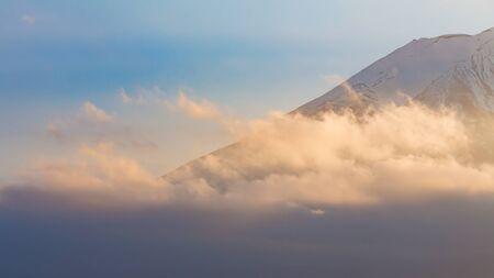 fuji mountain: Peak of Fuji Mountain close up, natural landscape background, Japan Stock Photo