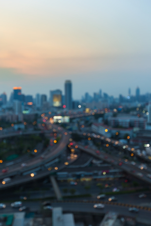 interchanged: Blurred lights city and highway interchanged, abstract background Stock Photo