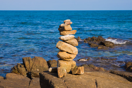 stack stone: Stack stone on the seacoast, natural concept background