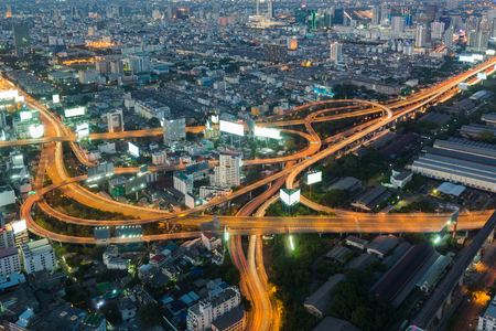 interchanged: Aerial view, Highway interchanged night view, long exposure