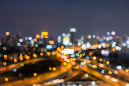 interchanged: Night blurred lights, city road interchanged and office building background