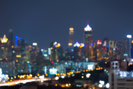 night skyline: Abstract blurred lights night view, city downtown background Stock Photo