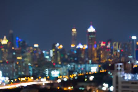 Kort wazig lichten nacht uitzicht, downtown achtergrond Stockfoto