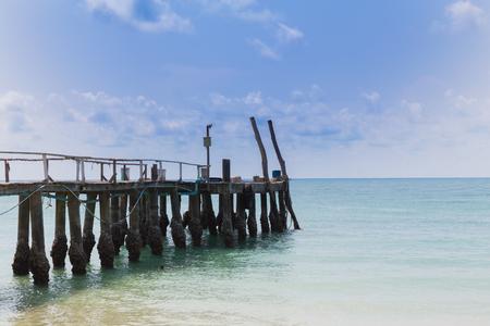 hatteras: Finishing Jetty on the beach skyline, natural landscape background Stock Photo