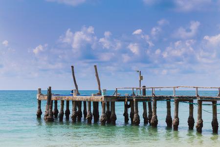 hatteras: Jetty on the beach skyline, natural landscape background Stock Photo