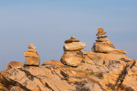 stack stone: Stack stone with clear blue sky background, natural abstract background