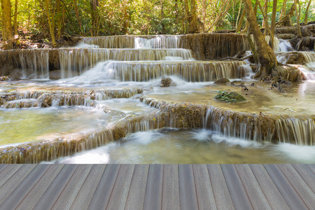 Opening wooden floor, natural waterfalls in deep forest national park