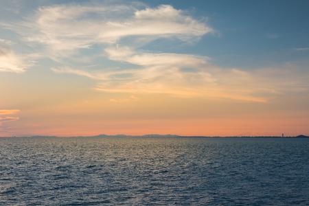 seacoast: Ocean seacoast skyline with sunset sky background, natural landscape