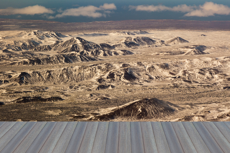 sunshines: Opening wooden floor, Aerial view snow covered mountain Iceland landscape background Stock Photo