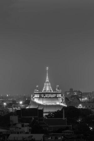 bangkok landmark: Black and White, Golden Mount Pagoda, Bangkok Landmark, Thailand Stock Photo