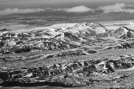 sunshines: Black and White, Aerial view winter mountain over the air, natural landscape background