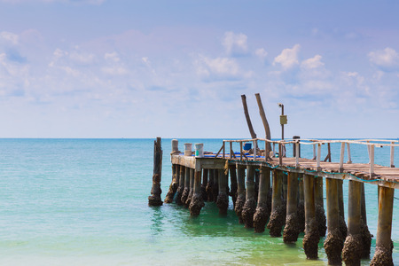 hatteras: Fishing jetty over seacoast skyline, natural landscape background