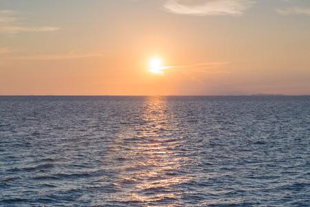 santa monica: Sunset over seacoast skyline, natural landscape background Stock Photo