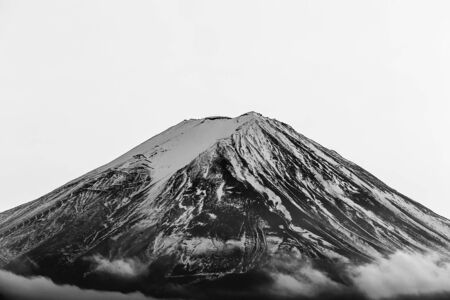 fuji mountain: Black and White, Close up snow coverd over Fuji mountain in Japan