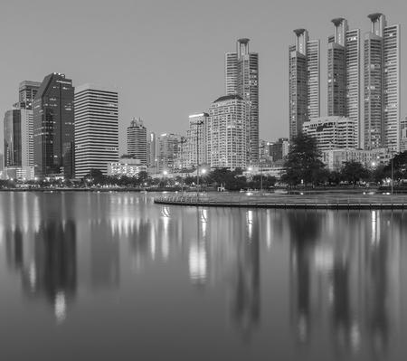 benjakitti: Black and White, Waterfront at Bangkok business downtown with water reflection