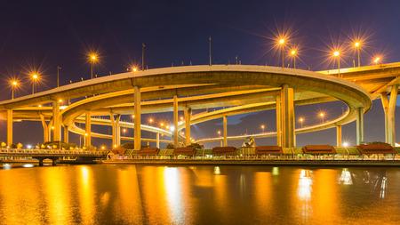 interchanged: Twilight, Highway interchanged river front night lights