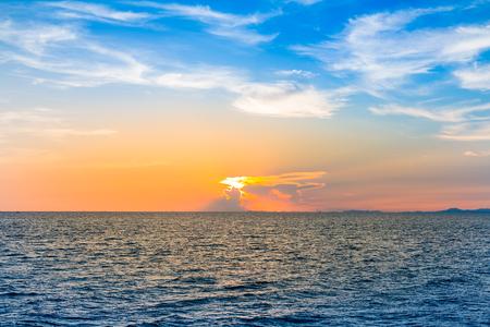 seacoast: Sunset over seacoast skyline, natural landscape background Stock Photo
