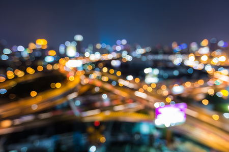 interchanged: Abstract blurred bokeh city road interchanged night view