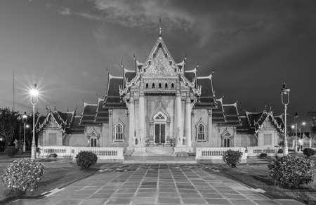 Black and White, Marble Temple, religion landmark in Bangkok Thailand Stock Photo