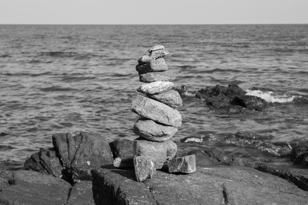 stack stone: Black and White, Stack stone with ocean background, natural abstract background