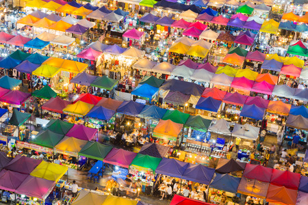 Top view over colourful night market roof top Stock Photo