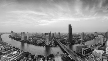plano: Black and White, Aerial view beautiful Bangkok river curved with dramatic sky background