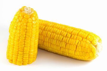 Sweet corn boil ready to eat on white background Stock Photo