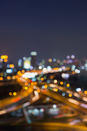 Blurred lights night view city and highway interchanged at night, Abstract background Stock Photo