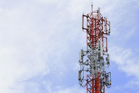 Base Station with blue sky, close up, telecommunication background Stock Photo