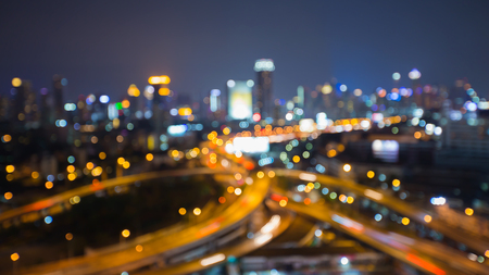 interchanged: Blurred lights night view city and highway interchanged at night