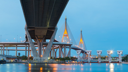Highway and Twin suspension bridge cross over Bangkok main river, Thailand Stock Photo