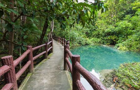 leading the way: Walk way leading to Emerald Pool in Krabi South of Thailand Stock Photo