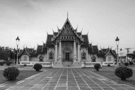 Black and White, Marble temple, Bangkok Landmark, Thailand