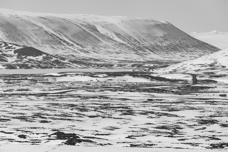 sunshines: Black and White, Winter landscape background, Iceland natural snow covered mountain background