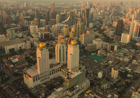 arial: Arial view Bangkok city downtown during sunset