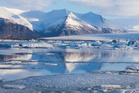 glacial: Frozen lake Jokulsarlon Glacial during late winter, Iceland natural landscape