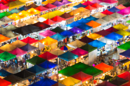 Aerial view multiple colours rooftop flea market or night market Stock Photo