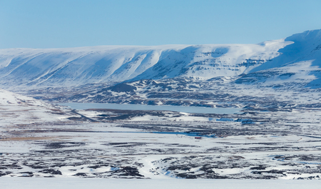 Iceland mountain natural winter landscape background