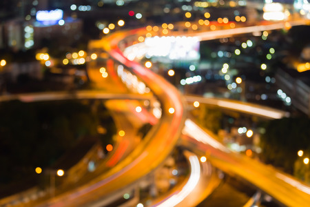 interchanged: Blurred lights highway interchanged nigh view, abstract background Stock Photo