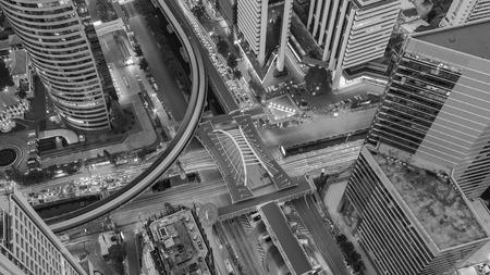 interchanged: Black and White, Bangkok city road interchanged aerial view, Thailand