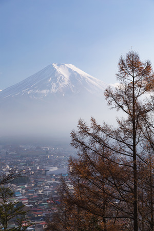 Fuji mountain high view with clear blue sky background, Japan