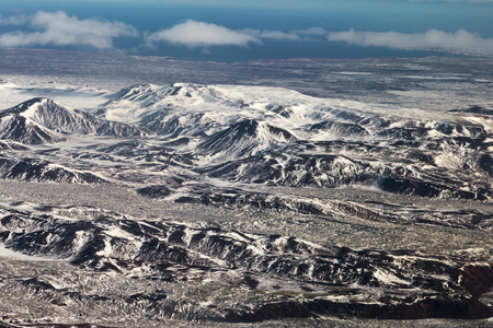 Aerial view natural mountain landscape in Iceland, natural landscape background Stock Photo