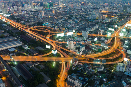 Aerial view city highway interchanged night view, Bangkok Thailand