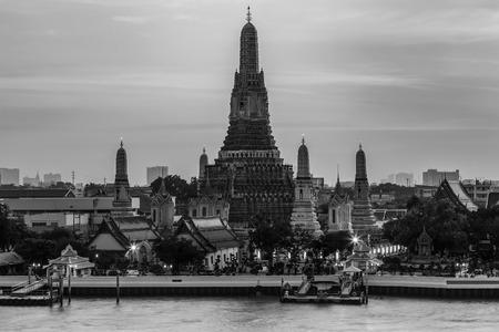 bangkok landmark: Black and White, Arun temple river front, Bangkok Landmark of Thailand