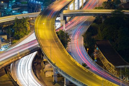 interchanged: Close up highway interchanged long exposure night view Stock Photo