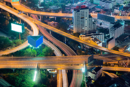 Interchanged overpass highway aerial view,long exposure night view
