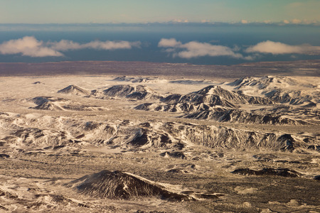 Aerial view Iceland winter mountain covered, natural landscape background