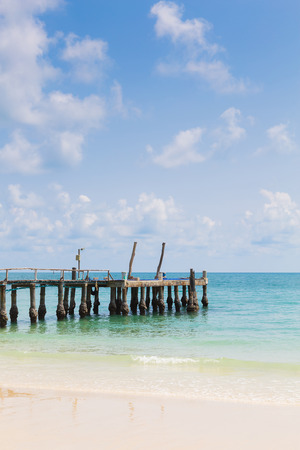 hatteras: Natural beach and fishing walkway with natural blue sky background Stock Photo